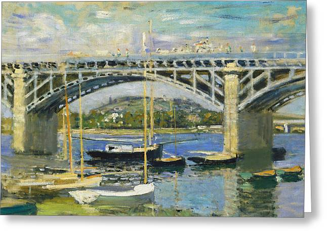 Monet Reproduction Greeting Cards - Bridge over the River at Argenteuil Greeting Card by Claude Monet