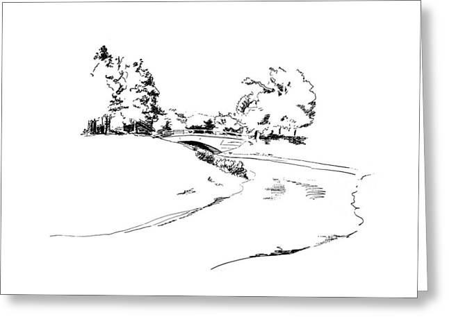 Woodland Scenes Drawings Greeting Cards - Bridge Over the River Greeting Card by Masha Batkova