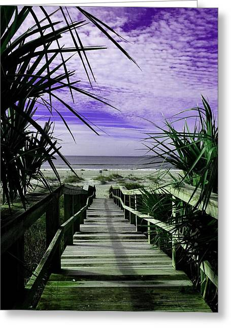 Cellphone Pastels Greeting Cards - Bridge Path to the Beach V b Greeting Card by Gert J Rheeders