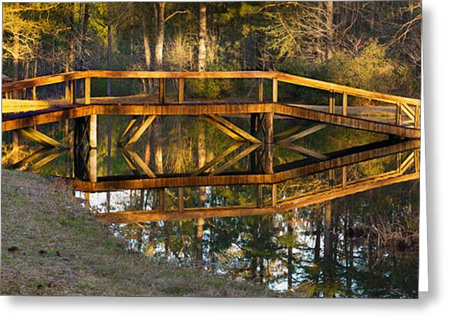 Bridge Tapestries - Textiles Greeting Cards - Bridge Reflection Greeting Card by James Hennis