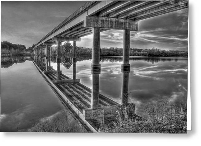 Bridge Reflections Black And White Bridge Art Greeting Card by Reid Callaway