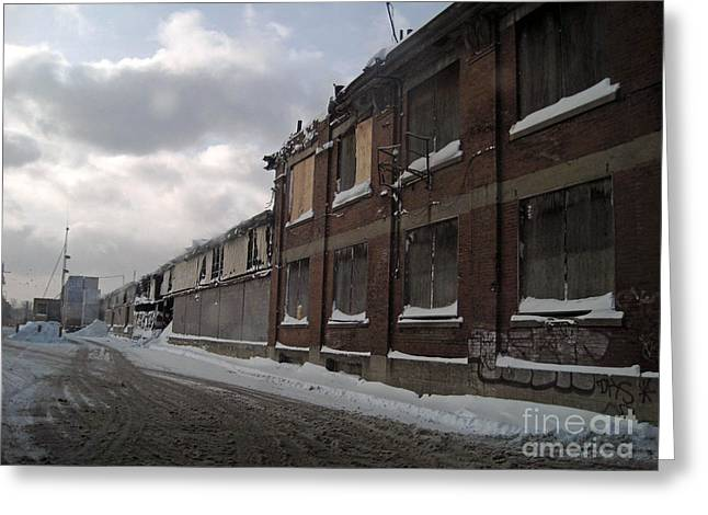 Montreal Winter Scenes Greeting Cards - Bridge Street Decay Greeting Card by Reb Frost