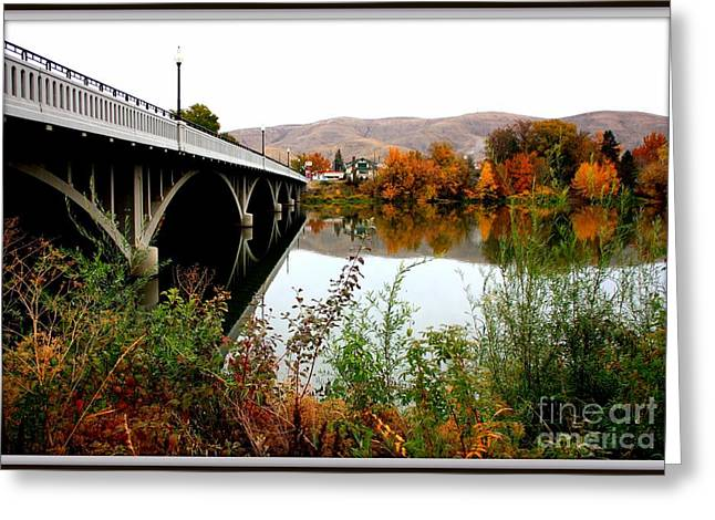 Autumn Scenes Greeting Cards - Bridge to Downtown Prosser Greeting Card by Carol Groenen