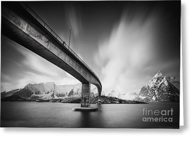 Lofoten Greeting Cards - Bridge to Lofoten Greeting Card by Pawel Klarecki