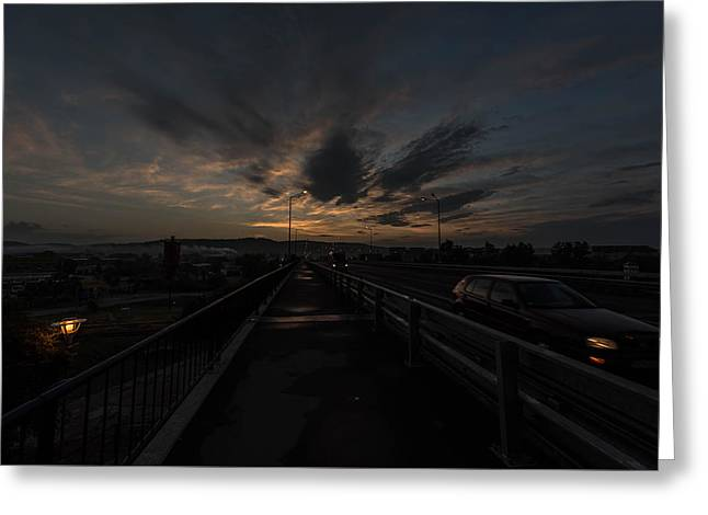 Night Lamp Greeting Cards - Bridge To The City In The Morning Greeting Card by Adrian Bud