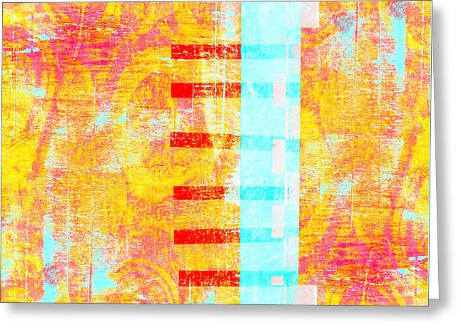 Turquoise And Red Greeting Cards - Bridges and Barriers Colorful Abstract Greeting Card by Carol Leigh