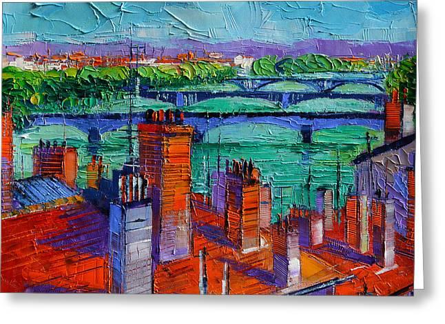 European City Greeting Cards - Bridges Of Lyon Greeting Card by Mona Edulesco