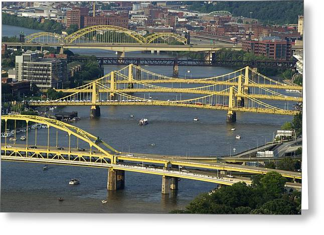 Monongahela Duquesne Incline Greeting Cards - Bridges of Pittsburgh Greeting Card by Frozen in Time Fine Art Photography