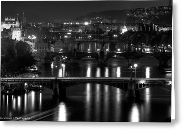 Old Street Greeting Cards - Bridges of Prague at night Greeting Card by Isaac Silman