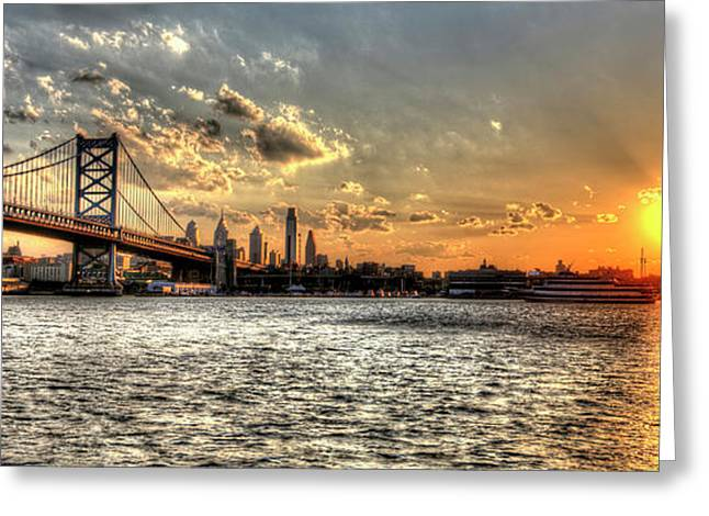 Williams Dam Photographs Greeting Cards - Bridging two cities. Philly skyline view from Camden. Greeting Card by Mark Ayzenberg