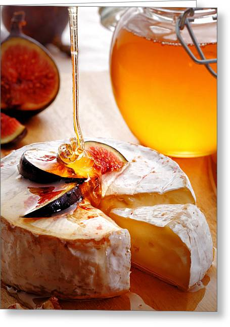 Slices Greeting Cards - Brie Cheese with Figs and honey Greeting Card by Johan Swanepoel