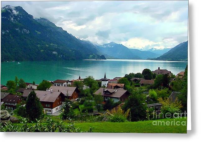 Swiss Photographs Greeting Cards - Brienz an der Brienzersee Greeting Card by Gary Holmes