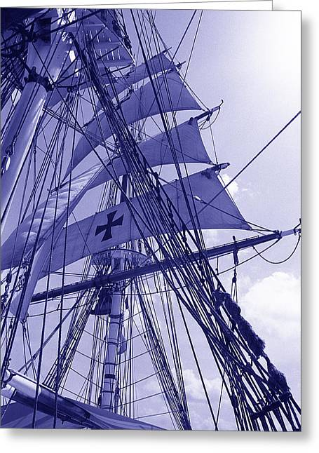 Sailing Boat Greeting Cards - Brig in Blue Greeting Card by Terence Davis