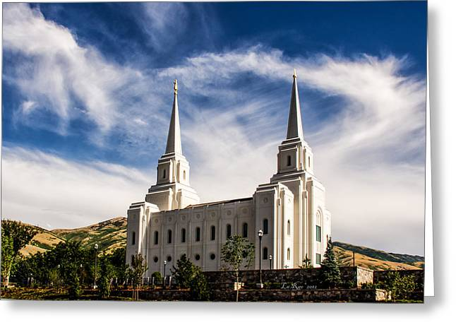 Utah Temple Photography Greeting Cards - Brigham City Temple NW Greeting Card by La Rae  Roberts