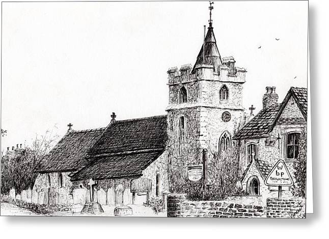 Churchyard Greeting Cards - Brighstone Church Greeting Card by Vincent Alexander Booth
