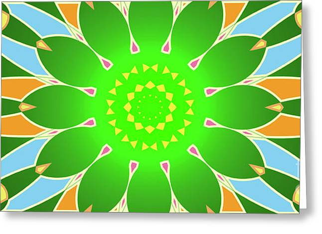 Bright Abstract Mandala On Green Background Greeting Card by Pablo Franchi
