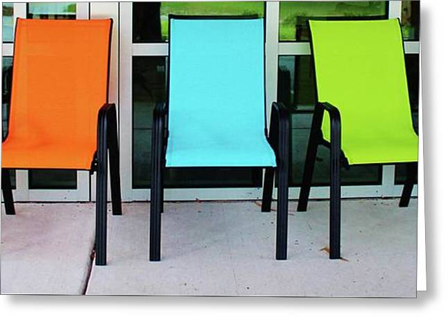 Bright And Bold Chairs Greeting Card by Cynthia Guinn