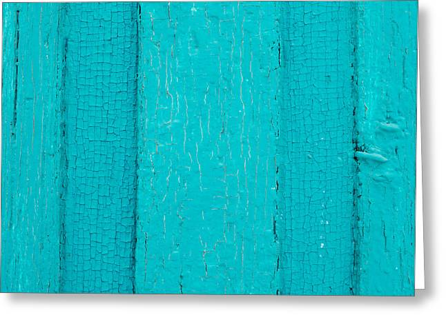 Residential Structure Greeting Cards - Bright Blue Paint on Metal Greeting Card by John Williams