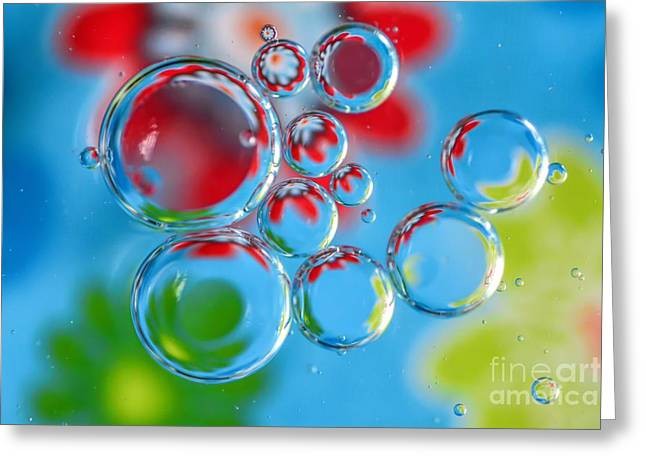 Red Abstracts Greeting Cards - Bright Bubbles Greeting Card by Debbie Green