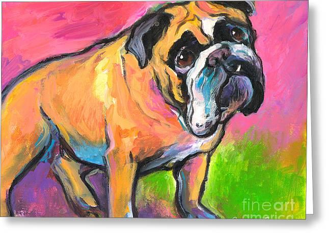Commissioned Austin Portraits Greeting Cards - Bright Bulldog portrait painting  Greeting Card by Svetlana Novikova