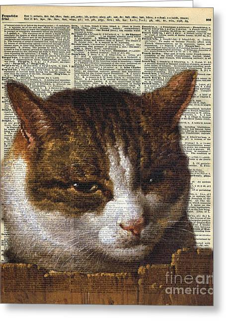 Home Decor Posters Mixed Media Greeting Cards - Bright Cat look over a fence Greeting Card by Jacob Kuch