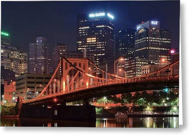 Bright City Night Greeting Card by Frozen in Time Fine Art Photography