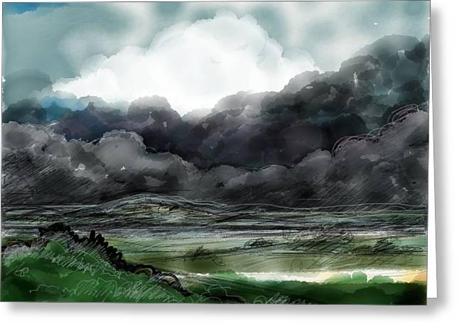 Summer Storm Drawings Greeting Cards - Bright clouds behind a summer storm Greeting Card by Phyllis Mahon