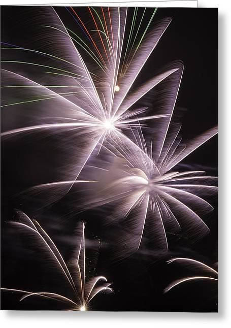 Pyrotechnics Greeting Cards - Bright Fireworks Greeting Card by Garry Gay