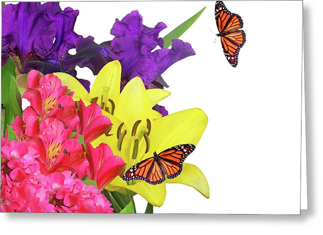 Wildlife Celebration Greeting Cards - Bright Flowery Monarchy Day Greeting Card by Elizabeth Spencer