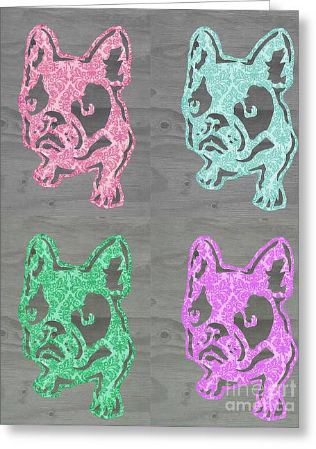 Funny Frenchies Greeting Cards - Bright Frenchies Greeting Card by B Campbell