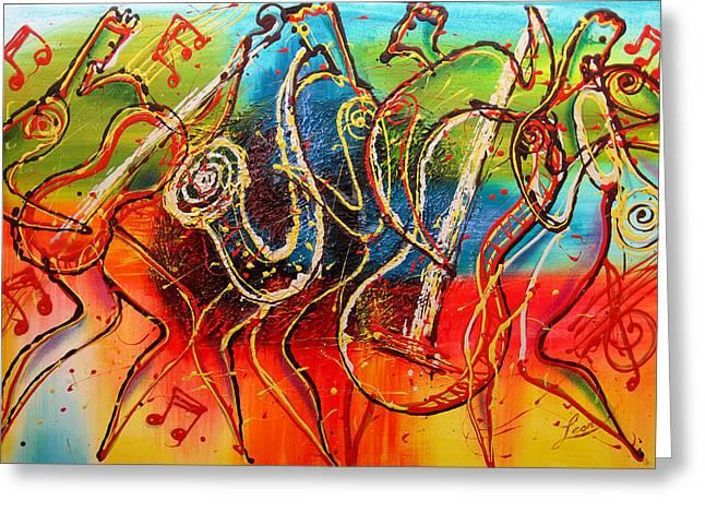 Avant Garde Jazz Greeting Cards - Bright Jazz Greeting Card by Leon Zernitsky