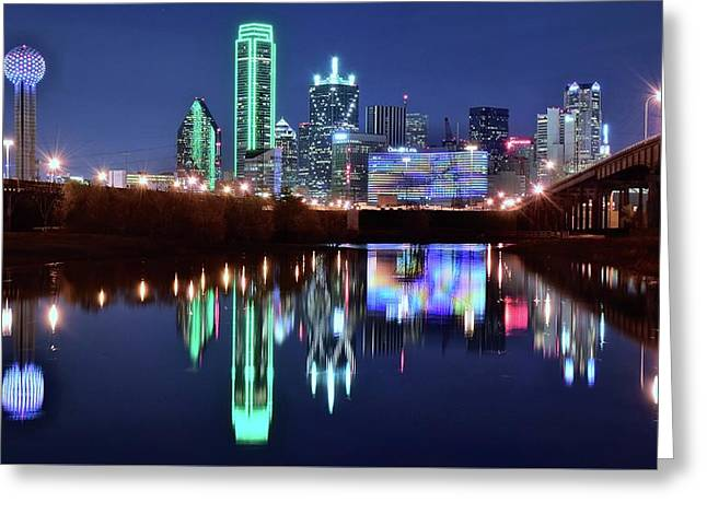 Bright Lights In Big D Greeting Card by Frozen in Time Fine Art Photography