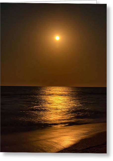 Ocean. Reflection Greeting Cards - Bright Moon Rising Greeting Card by John Bailey