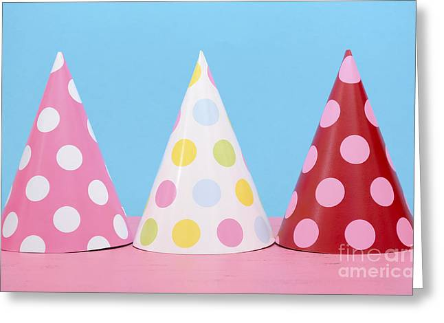 Wishes Greeting Cards - Bright party polka dot party hats.  Greeting Card by Milleflore Images