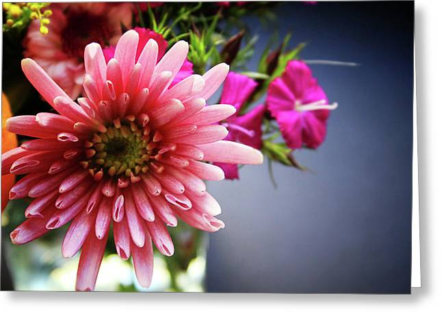 Bright Pink Floral 1- Art By Linda Woods Greeting Card by Linda Woods