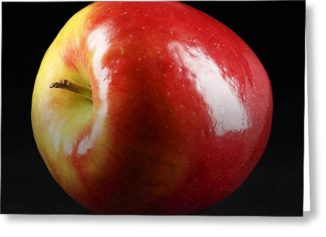 Erickson Greeting Cards - Bright Red Apple Isolated on Black Greeting Card by Donald  Erickson