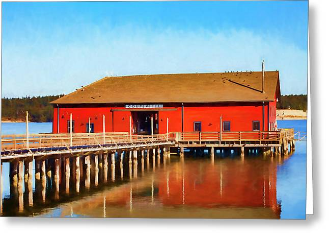 Bright Red Coupeville Wharf On Whidbey Island Greeting Card by Carol Leigh