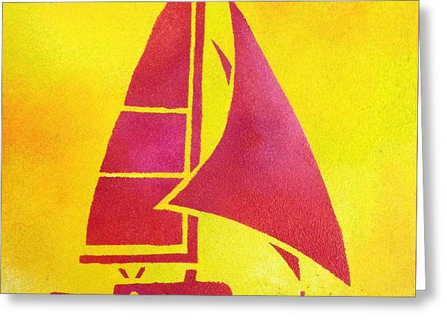 Yellow Sailboats Greeting Cards - Bright skies Greeting Card by Syvanah  Bennett