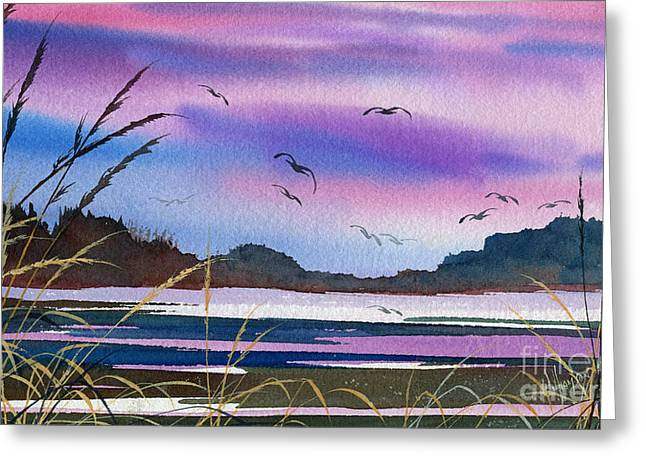 Artist James Williamson Watercolor Greeting Cards - Bright Tideland Sky Greeting Card by James Williamson