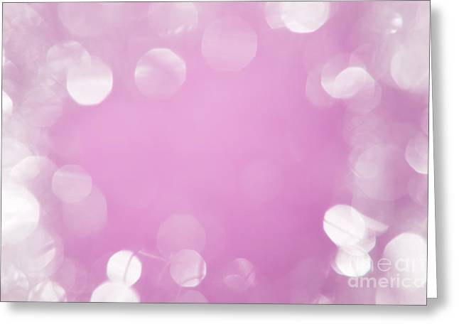 Twinkle Greeting Cards - Bright white bokeh with pink center Greeting Card by Wolfgang Steiner