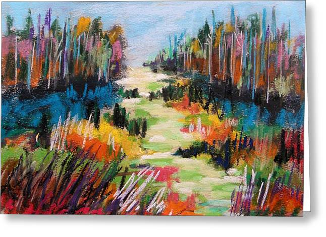 Vibrant Pastels Greeting Cards - Brightening Hillside Greeting Card by John  Williams