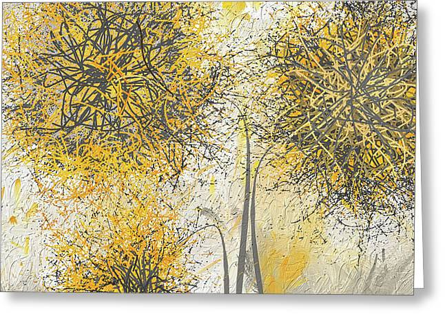Brighter Blooms - Yellow And Gray Modern Artwork Greeting Card by Lourry Legarde