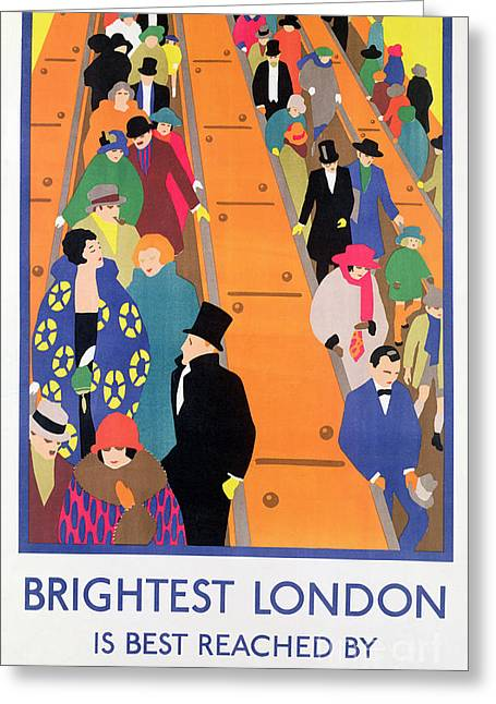20s Greeting Cards - Brightest London is Best Reached by Underground Greeting Card by Horace Taylor