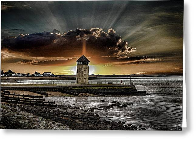 Lighthouse Sunset Greeting Cards - Brightlingsea Beach Greeting Card by Martin Newman