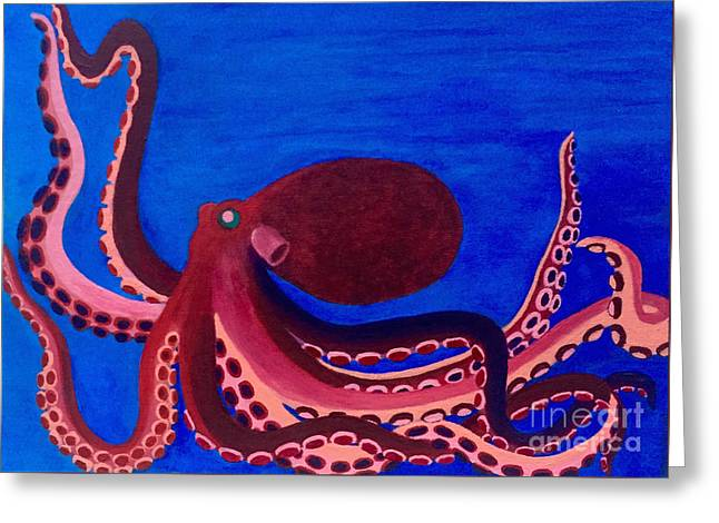 Sea Animals Greeting Cards - Brightly Colored Octopus Greeting Card by Ashley Baldwin