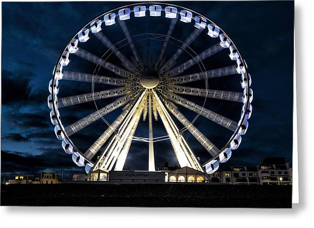 Sussex Greeting Cards - Brighton at night Greeting Card by Joana Kruse