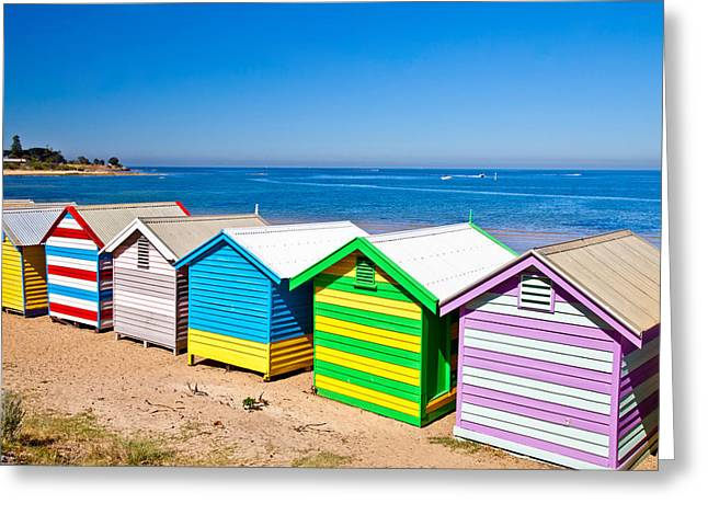 Shack Greeting Cards - Brighton Beach Huts Greeting Card by Az Jackson