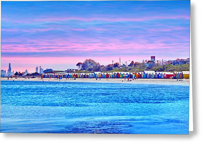 Shack Greeting Cards - Brighton Beach Sunset Greeting Card by Az Jackson