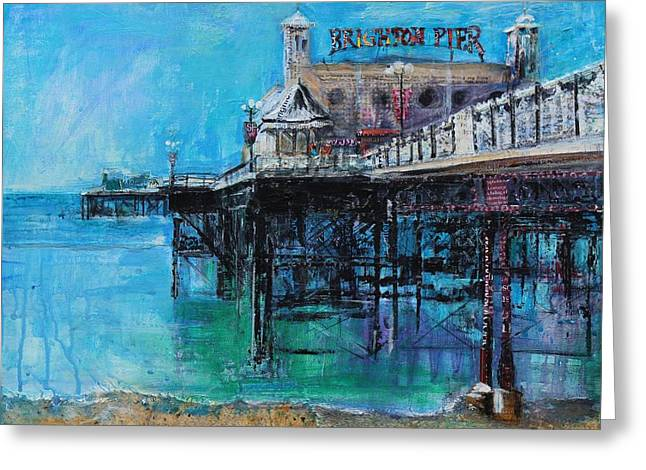 Brighton Beach Greeting Cards - Brighton Pier Greeting Card by Sylvia Paul