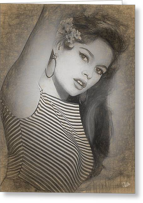 Brigitte Bardot Drawing Greeting Card by Quim Abella